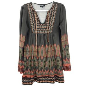 Angie Long Sleeve Embroidered Dress Brown Medium